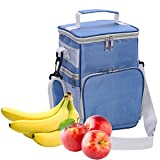 ELEOPTION Large 8L Insulated Lunch Bag with Side Pockets Carry Handle & Shoulder Strap for School Work Office Camping Travel Neoprene Lunch Tote (Blue)