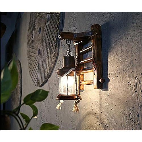 MSAJ Mur de cuivre Vintage industriel Bois d'allée du Corridor Wall Lamp(24*33cm)