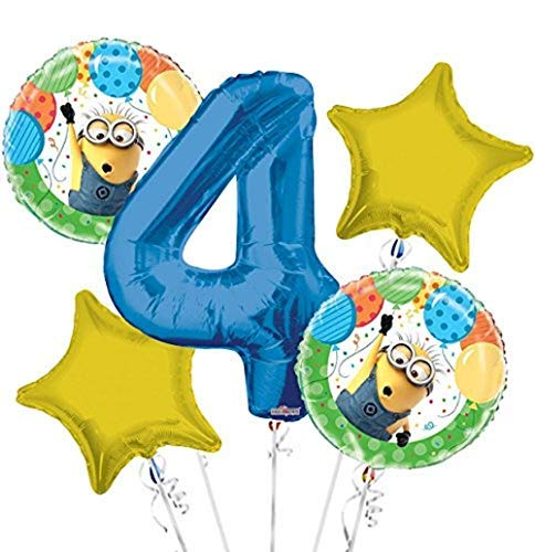Minions Despicable Me Balloon Bouquet 4th Birthday 5 pcs - Party Supplies]()