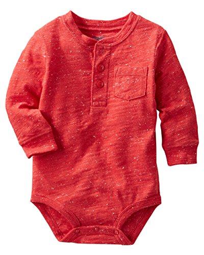 - Oshkosh B'gosh Baby Boys' Nep Yarn Henley Bodysuit (24 Months, Red)
