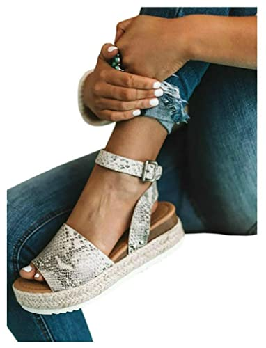 ed02656af9 LAICIGO Women's Flatform Espadrilles Ankle Strap Buckle Open Toe Faux  Leather Studded Wedge Summer Sandals