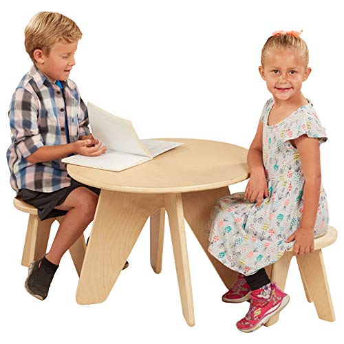 ECR4Kids Wooden Dart Table, 3-Piece Table and Stool Set, Furniture and Seating for Kids and Toddlers, Natural