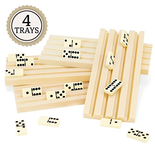 (Brybelly Set of Four Plastic Domino Trays - Premium Holder Racks for Domino Tiles, Great for Mexican Train, Mahjong, Chickenfoot, Domino Games)