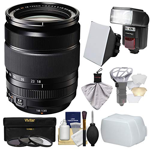 Fujifilm 18-135mm f/3.5-5.6 XF R LM OIS WR Zoom Lens + Flash + Soft Box + 2 Diffusers + 3 Filters Kit for X-A2, X-E2, X-E2s, X-M1, X-T1, X-T10, X-Pro2