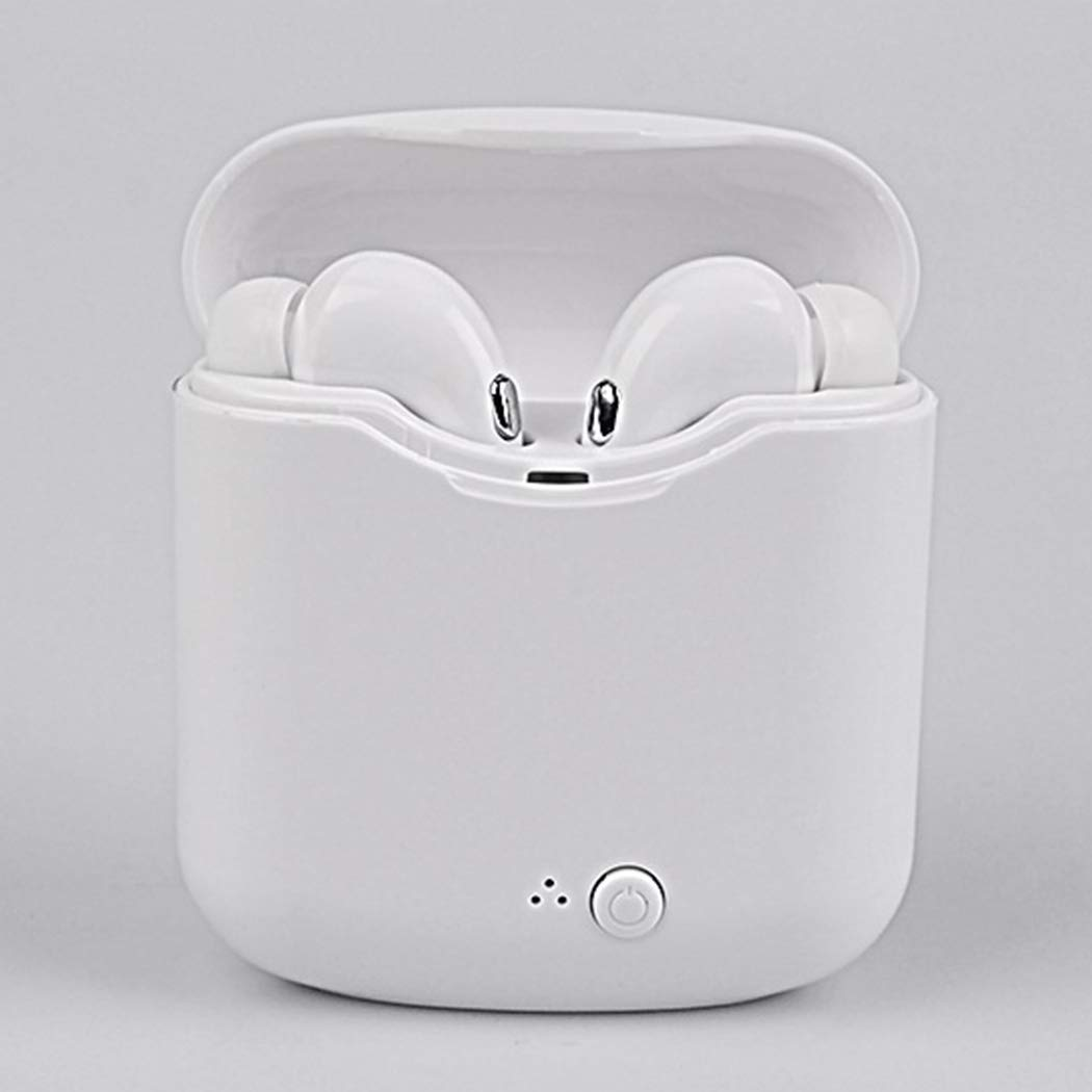 Wireless Bluetooth Earphones, Stereo Music Mini Phone Headset with Charger Box for Most Smartphones (White)
