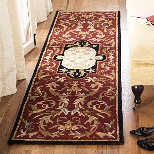 Safavieh Classic Collection CL220C Handmade Traditional Oriental Red and Black Wool Runner (2'3
