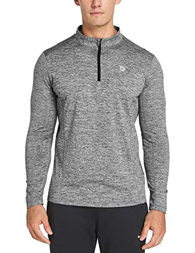 Baleaf Men's 1/4 Zip Pullover Thermal Running Shirts Long Sleeve Fleece LinningHeather Gray S