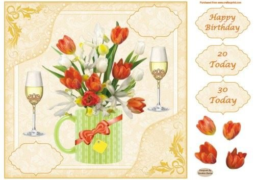 8x8ins Floral 20-30 Birthday Decoupage Card Front by Sandra Carlse Craftsuprint