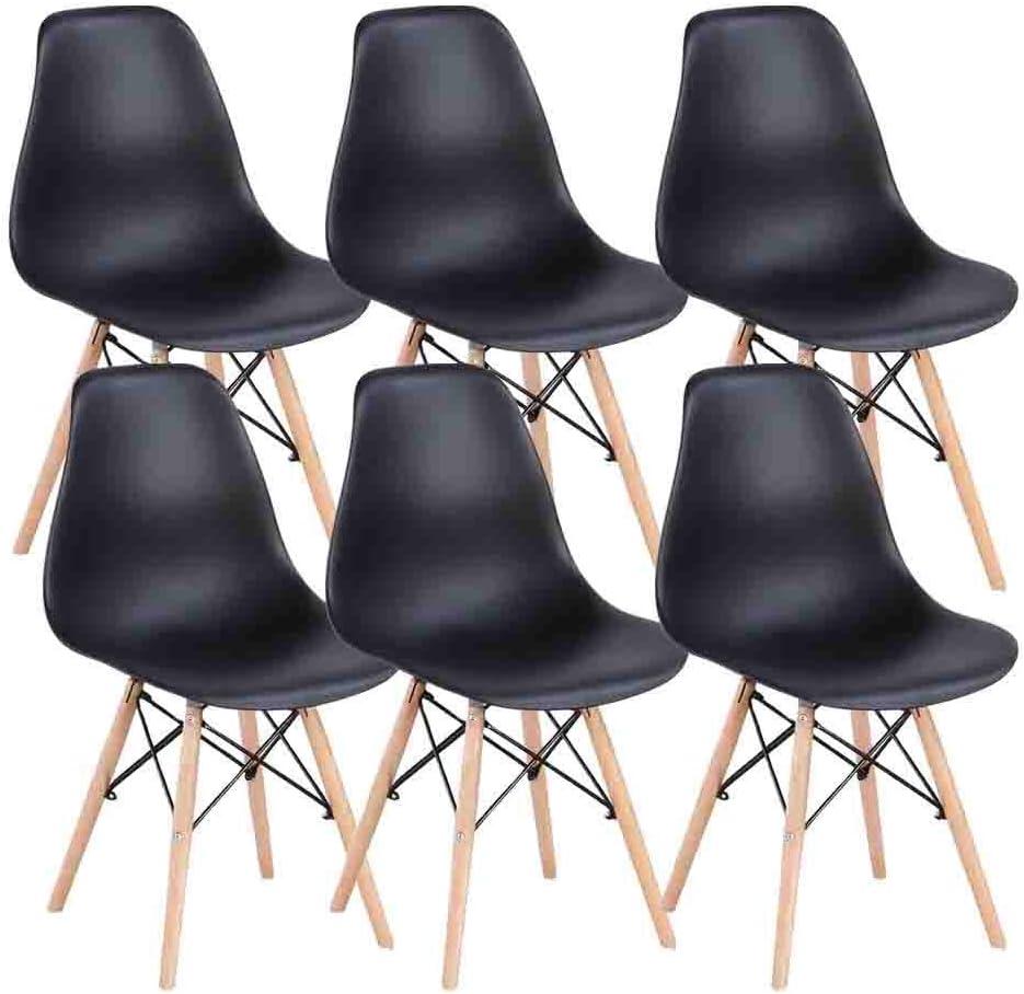 MUEBLES HOME - Juego de 6 sillas de comedor modernas de mediados de siglo, sillas de plástico con patas de madera para dormitorio, sala de estar, sillas montadas lateralmente, color negro