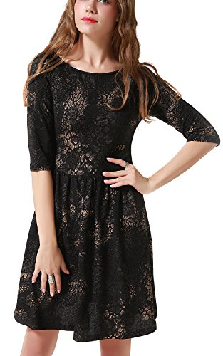 Chifave Women's 3/4 Sleeves Leopard Print High Waist Above Knee A Line Casual Skater Midi Dress(Medium, Black) Casual Little Black Dress
