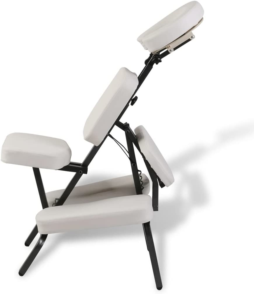 Tidyard Chaise de Massage Pliante et Portable Construction Solide avec Haute Qualit/é Blanc 122 x 81 x 48 cm