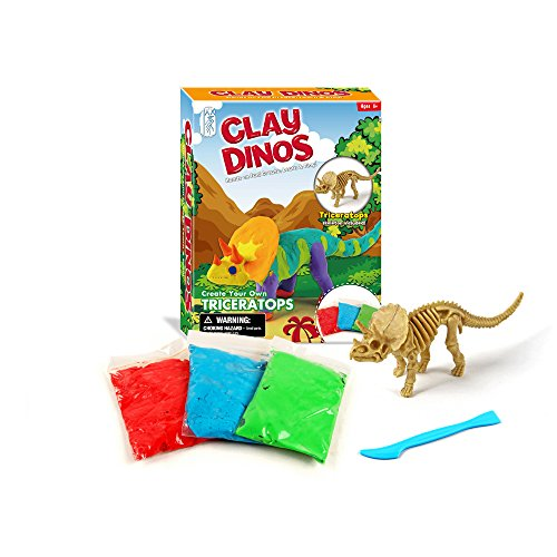Dinosaur Clay - WOW Dinosaur Clay Dino play dough kit-creativity for kits-build dino art and craft toys-Tricertops