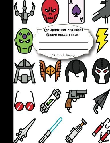 """Download Composition notebook graph ruled paper 8.5 x 11"""" 200 page 4x4 grid per inch,cartoon superhero: Large composition book journal for school student/teacher/office pdf"""