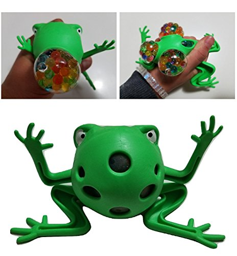 JM Frog Mesh Squishy Anti Stress Reliever Jelly Water Beads Grape Ball Autism Mood Squeeze Kid Toy Gift (Green)