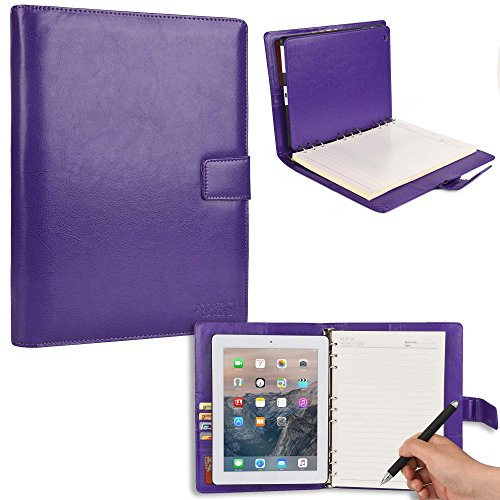 COOPER FOLDERTAB Padfolio Case compatible with iPad 4, iPad 3, iPad 2 | Business Executive Organizer with Notepad | Vegan Leather, Left & Right Handed Binder, Notebook Refill, Pockets | Apple (Purple)