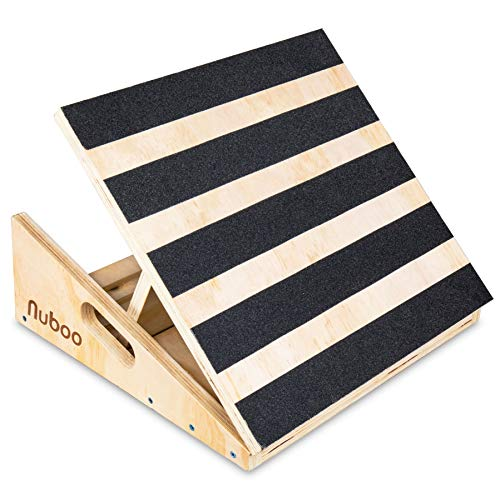 - Nuboo Extra Wide Wooden Calf Stretcher Slant Board for Inclined Stretches Physical Therapy and Recovery from Sports Injuries. 16