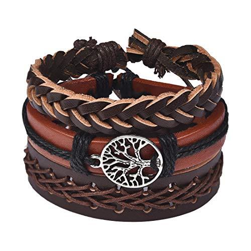 Tribal Leather Wristband - DALARAN Hemp Cords Wood Ethnic Tribal Bracelets Leather Wristbands Tree of Life Brown Cuff for Men