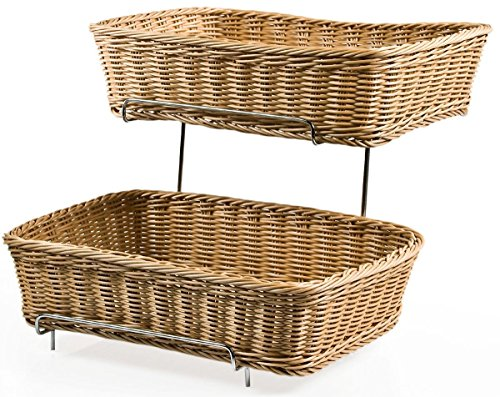 Set of Two 2-tier Racks for Counters with 2 Plastic Wicker Baskets Each 2 Tier Wicker