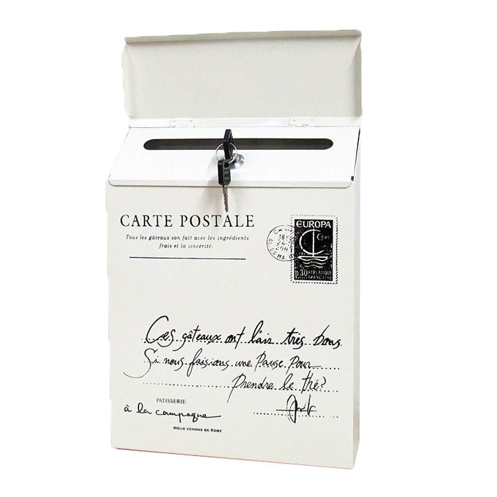 para correo postal Hefine Buz/ón de correo para exteriores blanco soporte de pared buz/ón de correo con 2 llaves resistente al agua estilo r/ústico vintage estilo europeo