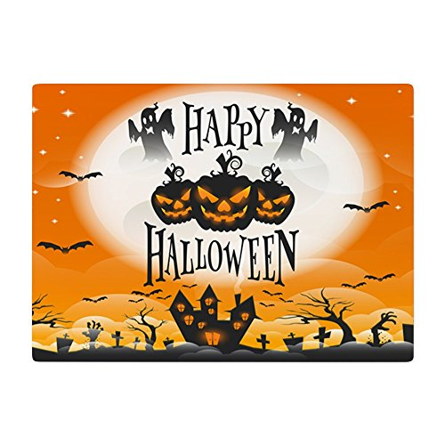 Glass Cutting Board Large Happy Halloween Ghosts Pumpkins