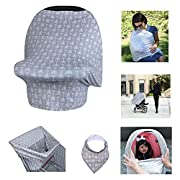 Multi-use Nursing Cover with FREE BANDANA BIB | Car Seat Cover | Highchair Cover | Shopping Cart Cover | Infinity Scarf | Hypoallergenic | Ultra Soft | Breathable | Stretchable (Grey Arrow)