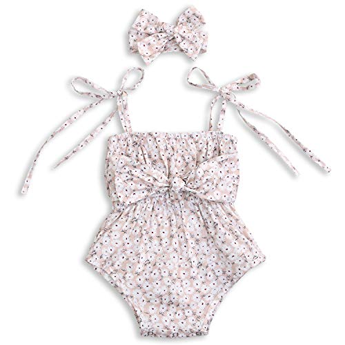 Baby Girls Floral Romper Set Strap Sleeveless Onesie with Headband (Cream, 18-24 Months)