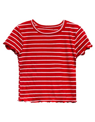 Full Tilt Stripe Lettuce Edge Black Girls Tee, Red/White, X-Small