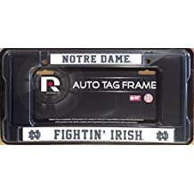 Notre Dame Fighting Irish BLACK ND Chrome Metal License Plate Tag Frame Cover University of