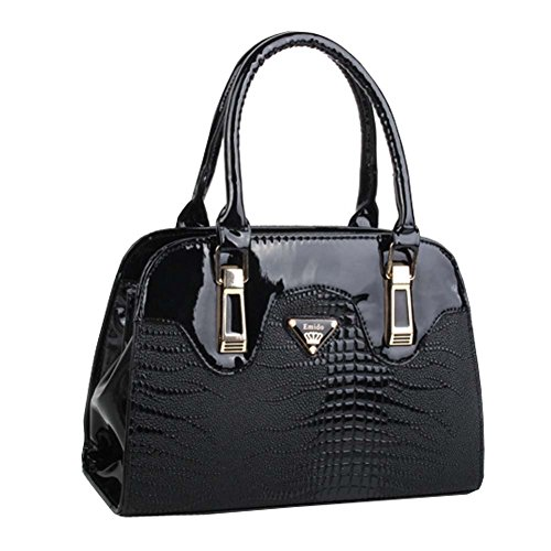 Top Shop Womens Leather CROCO Shoulder Handbags Casual Tote Messenger Bags Black Hobos