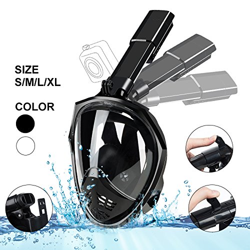 Snorkel Mask Foldable - Greatever 180° Panoramic View Free Breathing Full Face Snorkeling Mask with Camare Mount, Dry Top Set Anti-fog Anti-leak for Adults & Kids, Black Color& S-M Size