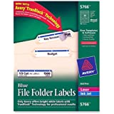 Avery® Blue File Folder Labels for Laser and Inkjet Printers with  TrueBlock(TM) Technology, 2/3 inches x 3-7/16 inches, Box of 1500 (5766)