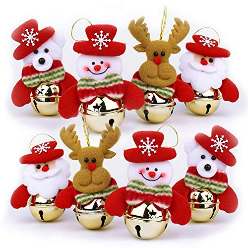 YOSICHY Christmas Bells Decorations for Home,8 Pcs Christmas Tree Ornaments Sets Santa, Snowman, Reindeer, Bear ()