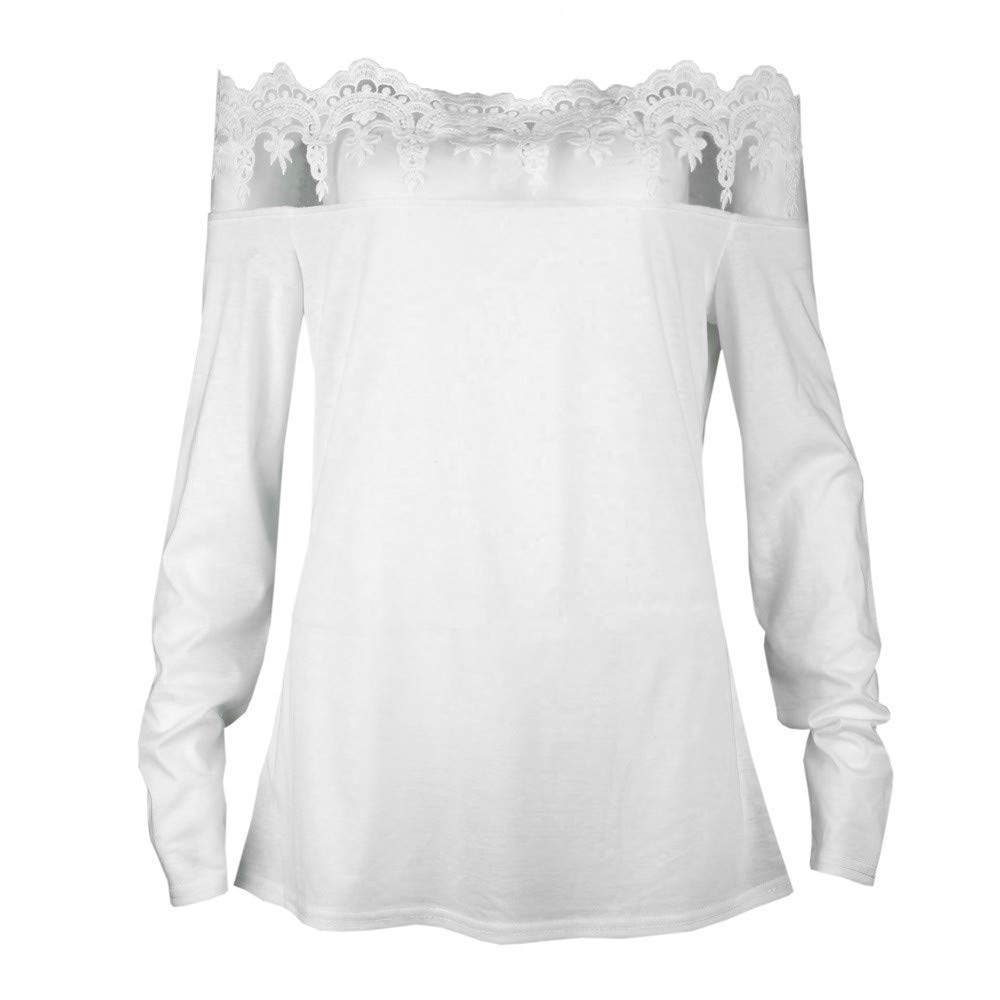 4ca1d8cec04 Amazon.com: Fashion Women's Off Shoulder Blouses Lace Tops Long Sleeve Shirt  Casual Ladies' Tops Tees Shirts: Clothing