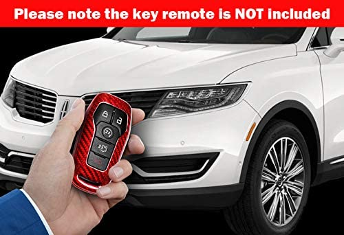 EPARTS Red Real Carbon Fiber Smart Key Fob Case Remote Control Shell Cover Jacket Compatible with Ford F150 Edge Lincoln MKC