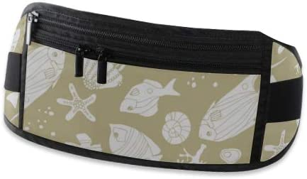Travel Waist Pack,travel Pocket With Adjustable Belt Sea Pattern Small Fish Kids Doodle Running Lumbar Pack For Travel Outdoor Sports Walking