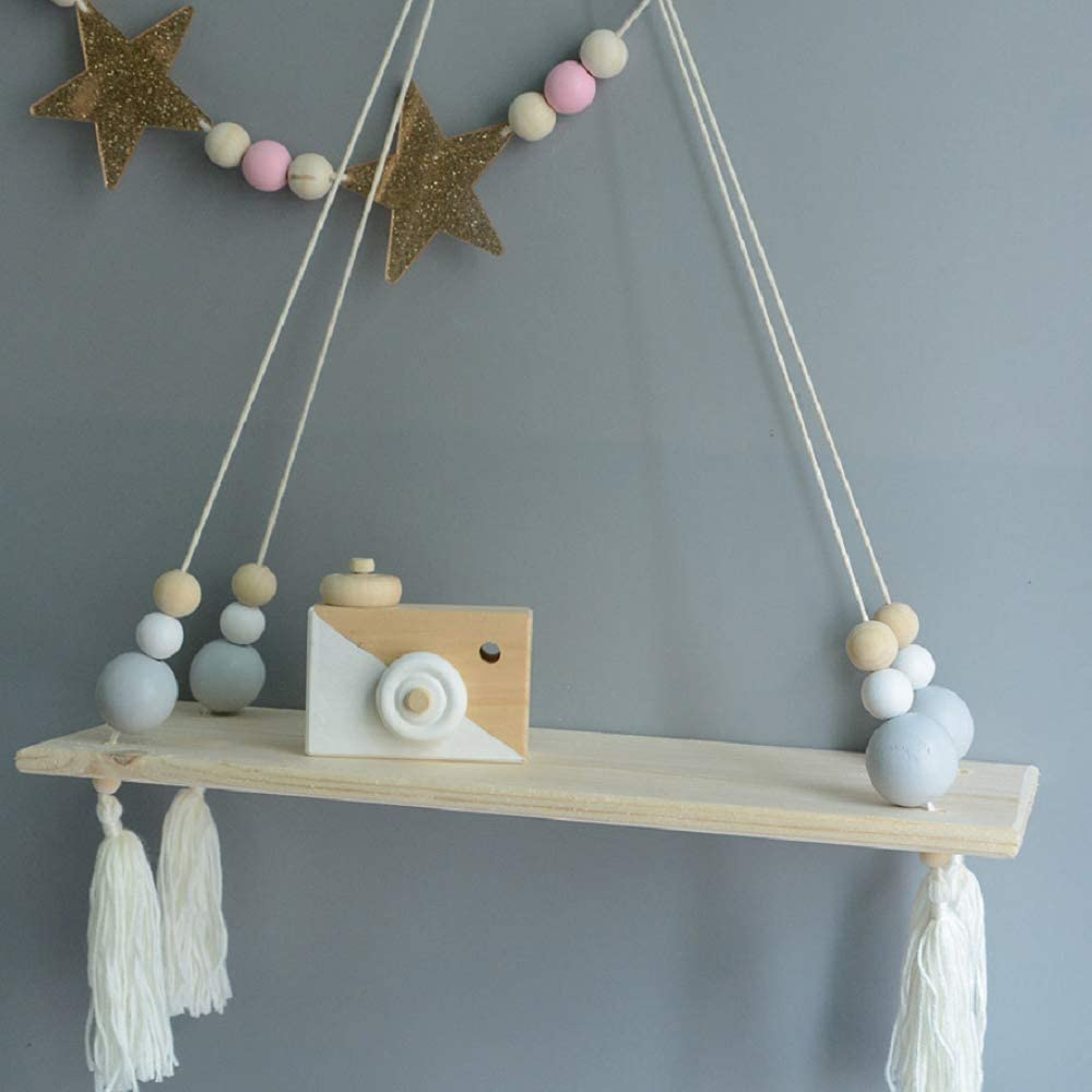 HAI+ Rope Hanging Floating Shelves, Wall Hanging Rope Shelves for Living Room, Bedroom, Bathroom and Kitchen (Grey)