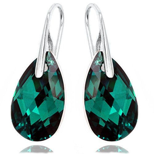 Sterling Silver Made with Swarovski Crystals Green-Blue Pierced Earrings for Women