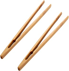 Niocaa Toast Tongs Toasted Bread Tongs Food Cooking Clip Bamboo Kitchen Tongs for Toaster Baguettes Home Tea Tweezer Brown 18cm 2Pcs