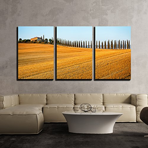 wall26 - 3 Piece Canvas Wall Art - Rural Countryside Landscape in Tuscany Region of Italy - Modern Home Decor Stretched and Framed Ready to Hang - 16