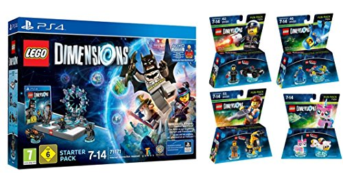 LEGO Dimensions Starter Pack for PS4 Playstation 4 with Exclusive Supergirl Figure PLUS LEGO Movie Bundle with Emmet 71212, Bad Cop 71213, Benny 71214, and UniKitty 71231