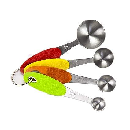 Cuchara medidora de acero inoxidable, 4 piezas, mango ...