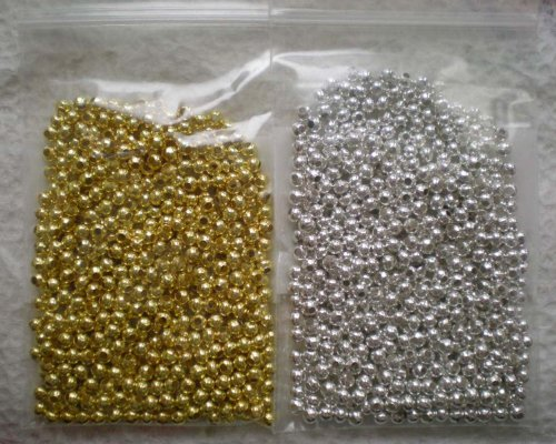 (Beading Station 1000-Piece Mix Tiny Spacer Metal Beads, 2.4mm, Silver/Gold)