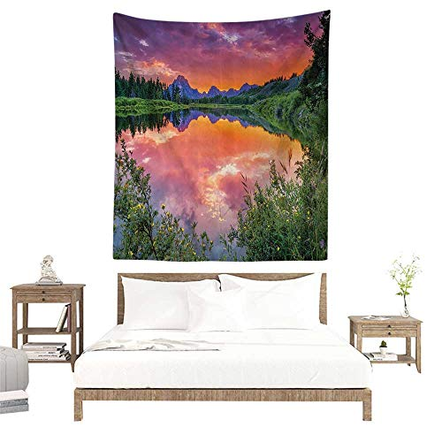 alisoso Home Decor Tapestry,Mountain in Wyoming View Decor,Colorful Sunset Reflection on River Nature Picture,Orange and Blue W63 x L63 inch Blanket Wall Art Tapestry (Best Tapestries On Society6)