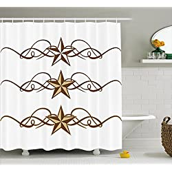 Ambesonne Primitive Country Decor Shower Curtain, Western Stars Scroll Design Ornate Swirls Antique Artistic, Fabric Bathroom Decor Set with Hooks, 75 inches Long, Brown Light Coffee