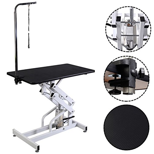 42.5'' x 23.6'' Z-Lift Hydraulic Pet Dog Adjustable Grooming Table (Glass 500 Snare)