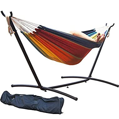 Prime Garden 9 Feet Double Hammock with Stand - Tropical Stripe