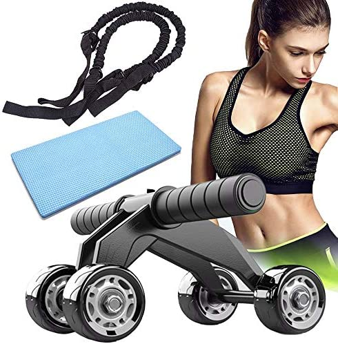 Ab Wheel Roller for Abdominal Exercise, 4 Wheels Ab Roller Core & Abdominal Trainers, Ab Wheel Roller with Knee Pad and Resistance Bands Flat Tummy Equipment for Men Women Home Core Workout