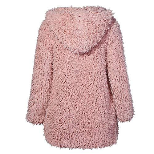 in cappotto cappuccio Giacche paolian caldo Inverno pelliccia Cappotto imbottito Felpe Size Plus Lady sintetica Autunno con primavera Cardigan lunghe rosa di Donna marrone Inverno lana B8wAqa