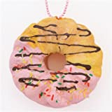 Pink icing sprinkles French cruller squishy charm cellphone charm kawaii