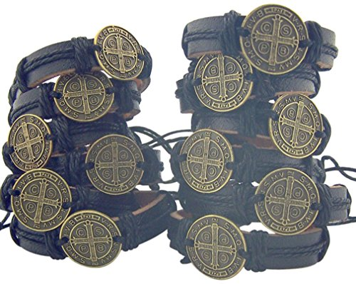 Religious Gifts Lot of 12 Saint Benedict Medal on Adjustable Leather Bracelet